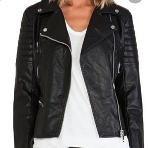 Blank NYC Faux Leather Blk Quilted Moto Jacket XS